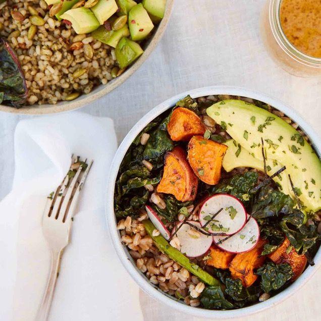 Green Grain Bowls _ Sweet Potato and Avocado Grain Bowls_credit Brigitte Sire