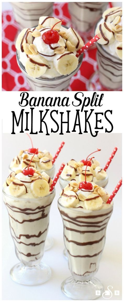 Banana Split Milkshakes - start with frozen bananas and end up with this creamy & delicious frozen treat! So easy to make and you'll love the classic banana split flavors! Butter With A Side of Bread AD #InspiredGathering