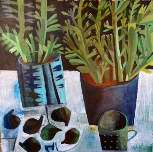 Will's Art Warehouse - contemporary fine art and gallery, modern oil paintings.  Blue Pots with Figs