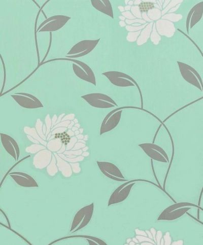 Camille Duck Egg (30-016) - Dulux Wallpapers - This beautiful floral is the perfect feature wall design adding a touch of glamour. Showing in cream on duck egg blue - other colour ways available. Please request a sample for true colour match. Paste-the-wall product.