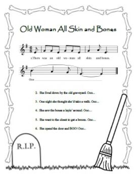 old woman all skin and bones printable song sheet perfect for halloween - Halloween Song For Preschool