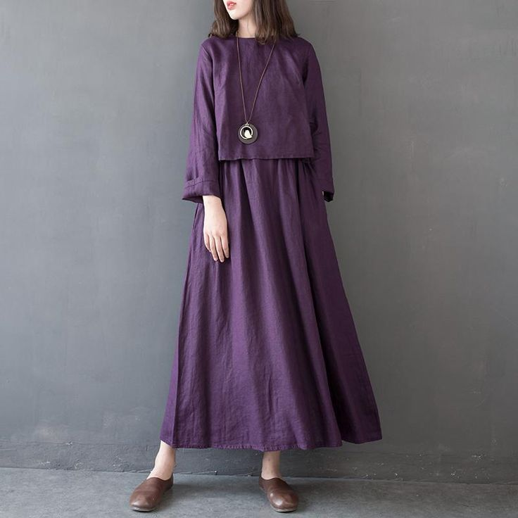 Leinen High Waist Solid Color Rundhals Kleid   – Long Linen Dress Women