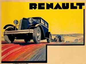 Renault poster - Vintage Poster Reproduction. This horizontal French transportation poster features a low angle of a car on a road with a line of trucks and autos behind it against a yellow sky. Giclee Advertising Print. Classic Posters