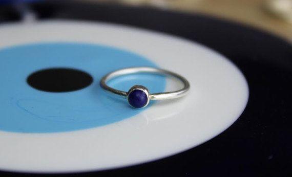 Blue Lapis Stacking Ring Lapis Lazuli ring by TempestSociety