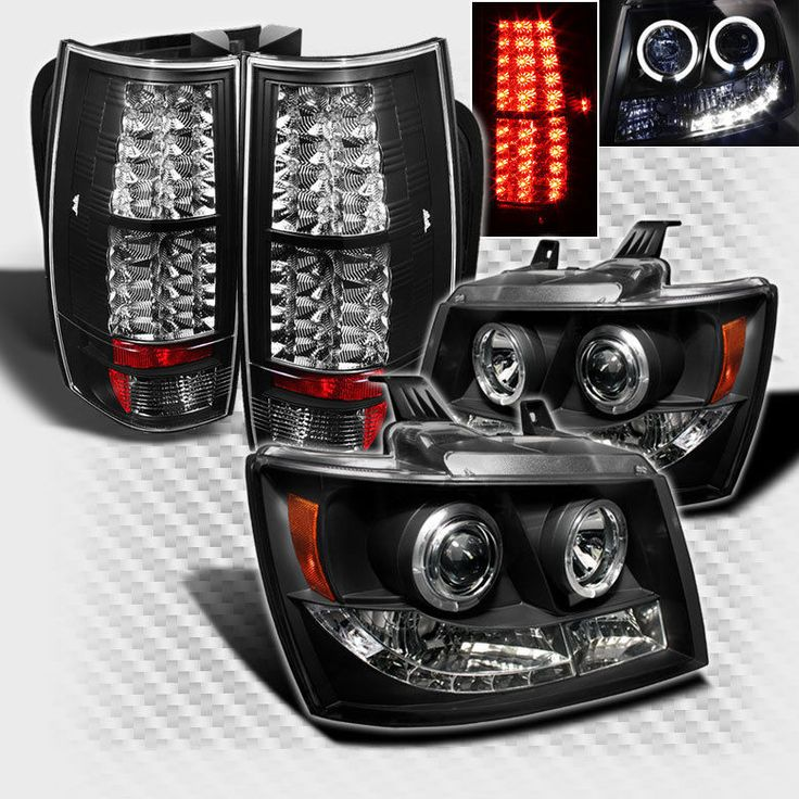 2007-2014 Chevy Suburban Tahoe Twin Halo LED Projector Head+LED Tail Lights BLK