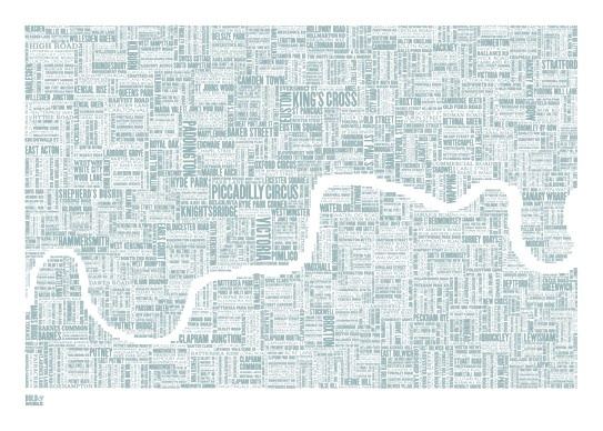 London Type Map in Duck Egg Blue  decorative by boldandnoble, $69.00