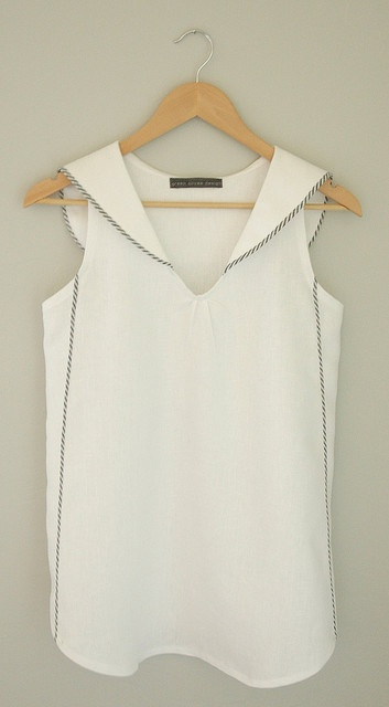 End of Summer Tank from Ellybeth's clothing line, Garment House. Love the sailor collar and striped piping