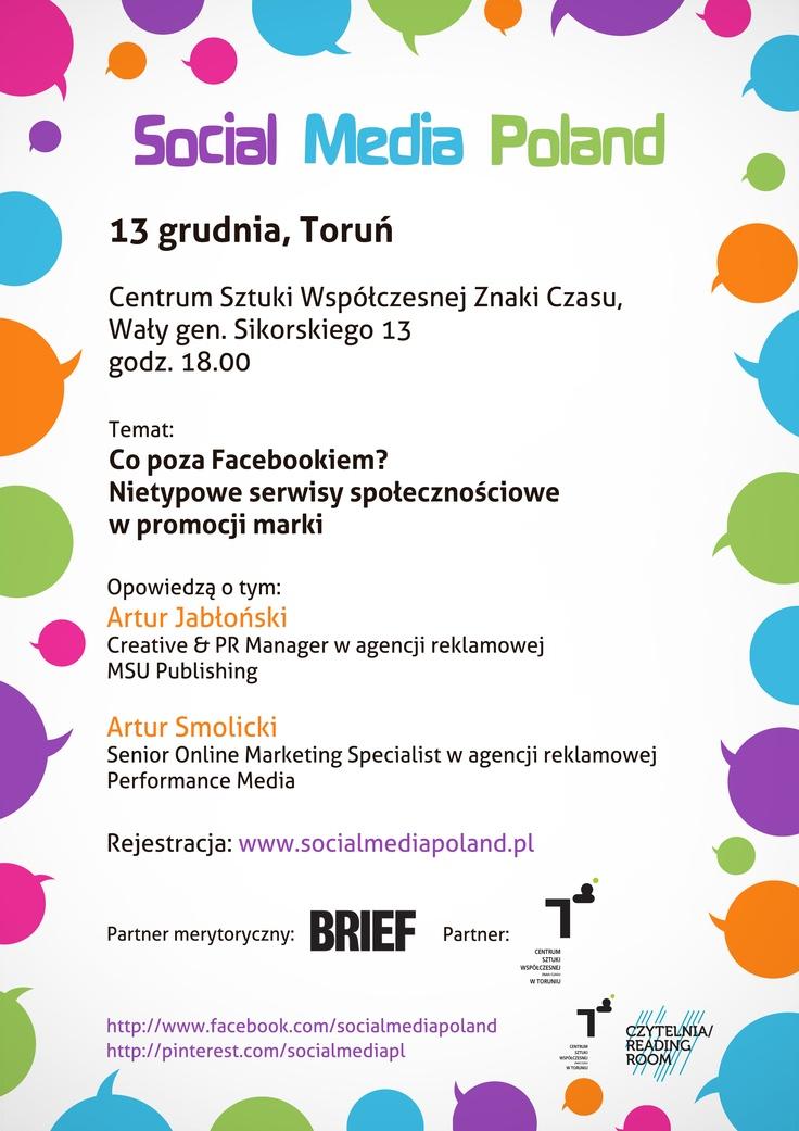Przypominamy o meetupie w Toruniu i zachęcamy do rejestracji! Dołączcie do naszego wydarzenia i dowiedzcie się więcej! ;-) http://www.meetup.com/Social-Media-Poland/events/92151992/