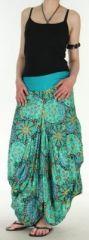 Jupe longue turquoise imprimée coupe bourgeon Emini disponible sur www.akoustik-online.com.