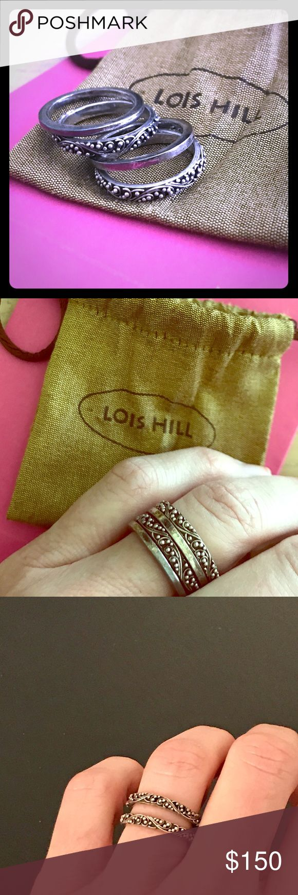 Lois Hill .925 Stackable Bands Beautiful preloved condition!  Intricate scroll bead detail. Wear all 4 stacked or alone. Stamped LH .925 Indonesia. Size 7 Lois Hill Jewelry Rings