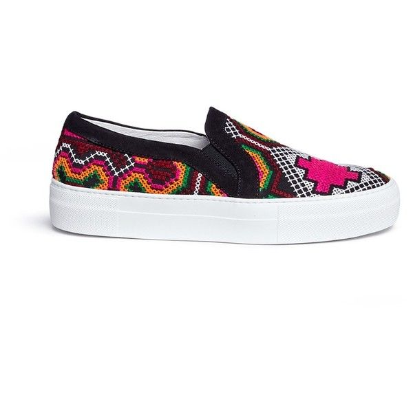 Joshua Sanders 'Namibia' tribal embroidered slip-on sneakers ($295) ❤ liked on Polyvore featuring shoes, sneakers, pull on shoes, slip-on shoes, tribal print sneakers, slip on sneakers and joshua's shoes