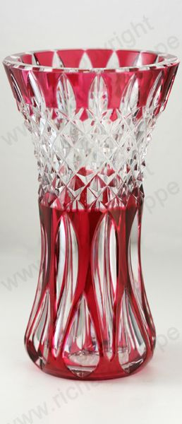 Vintage Glass in Red and Related Tones. c.1950s 60s VAL ST. LAMBERT CRANBERRY OVERLAY CRYSTAL VASE. This item is sold, to visit my website click here: http://www.richardhoppe.co.uk or for help or information email us here: info@richardhoppe.co.uk