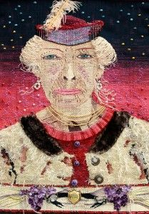 """Joanne Sanburg, """"Stella,"""" 2009, 34"""" x 23,"""" Wool, pine, silk, cotton and synthetic fibers on cotton warp, embellished with antique flowers, trim, earrings, buckles, buttons, necklace, feather, fur collar and """"First Annual Picnic"""" pin"""