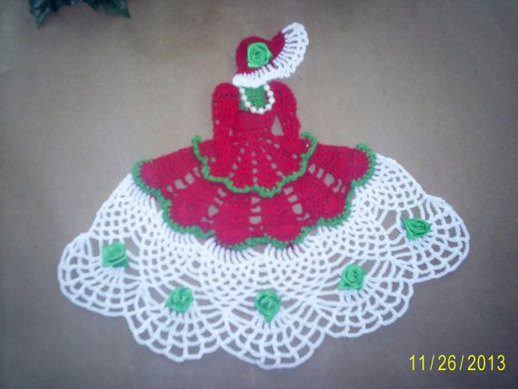 Handmade Crocheted Christmas Crinoline Doily With by SoapsAndMores, $15.00 on ETSY.com
