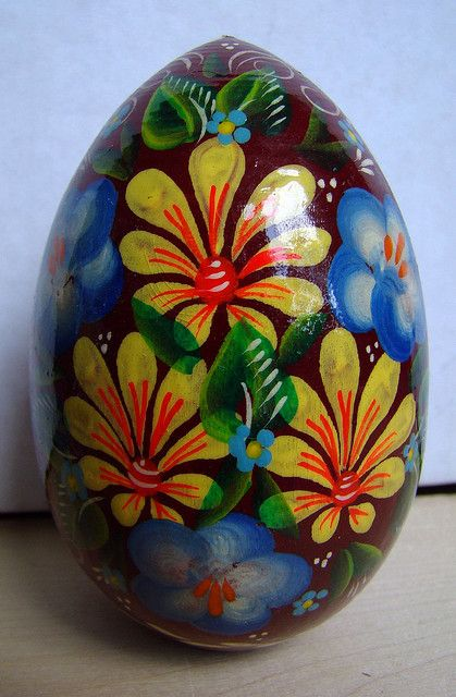 russian wooden decorative egg
