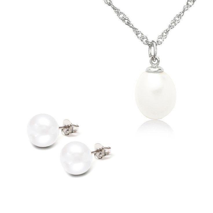 Set Sakura Pearl cercei, pandantiv și lanț argint cu perle de cultură albe