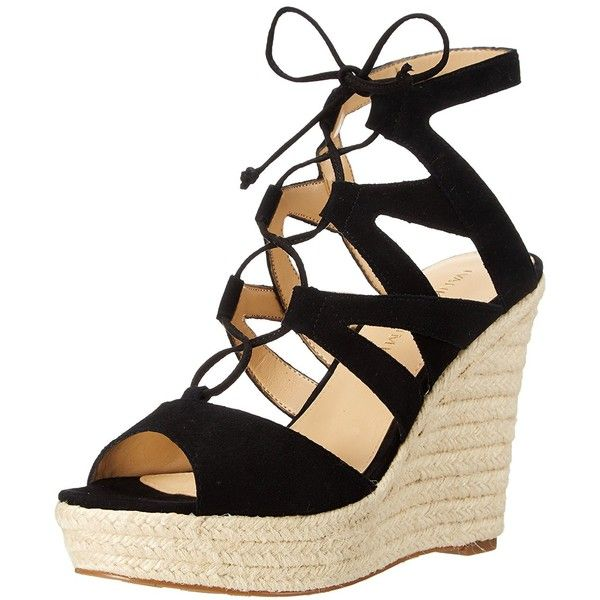 Ivanka Trump Women's Hindre Wedge Sandal - Open toe leads to open ghillie  lacing and tie at ankle. Man-made lining and insole.