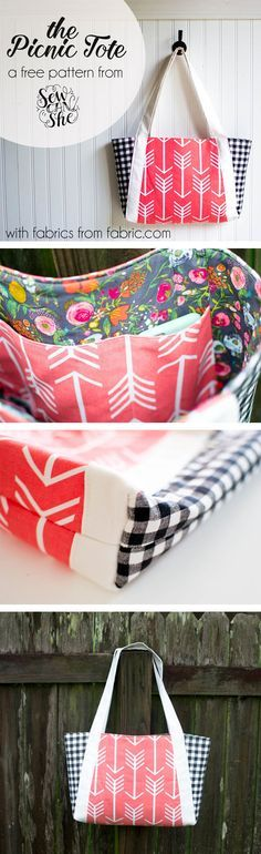 http://Fabric.com & Sew Can She partner to bring you a free picnic tote pattern and tutorial!