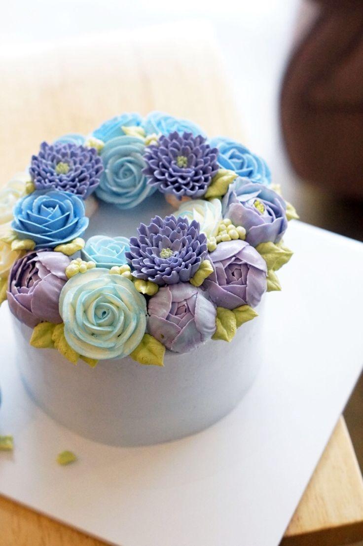Голубой цветок Нана-менее дизайн торта _ Пусане Цветочный торт: Naver блог