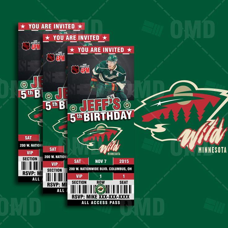 2.5x6 Minnesota Wild Hockey Sports Party Invitation, Wild Sports Tickets Invites, Hockey Birthday Theme Party Template by sportsinvites