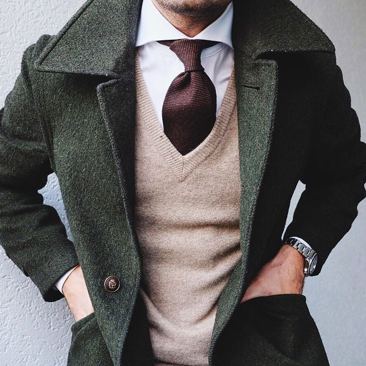 Green jacket over camel sweater over white collared top with brown/burgundy tie // SUIT & STYLE Follow @admdnhl for more from Style, Watches, Houses, Quotes and Cars