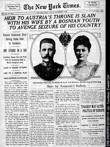 Archduke Franz Ferdinand shot dead by student
