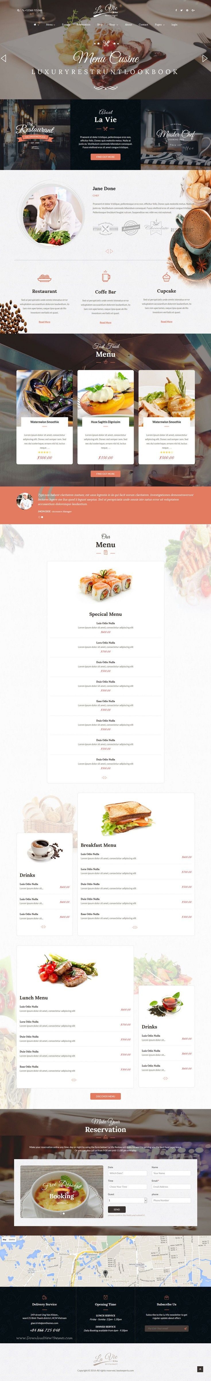 Lavie is beautiuful premium 3 in 1 Bootstrap HTML #Template for #Restaurant & Coffee Shop website. #cafe Download Now!