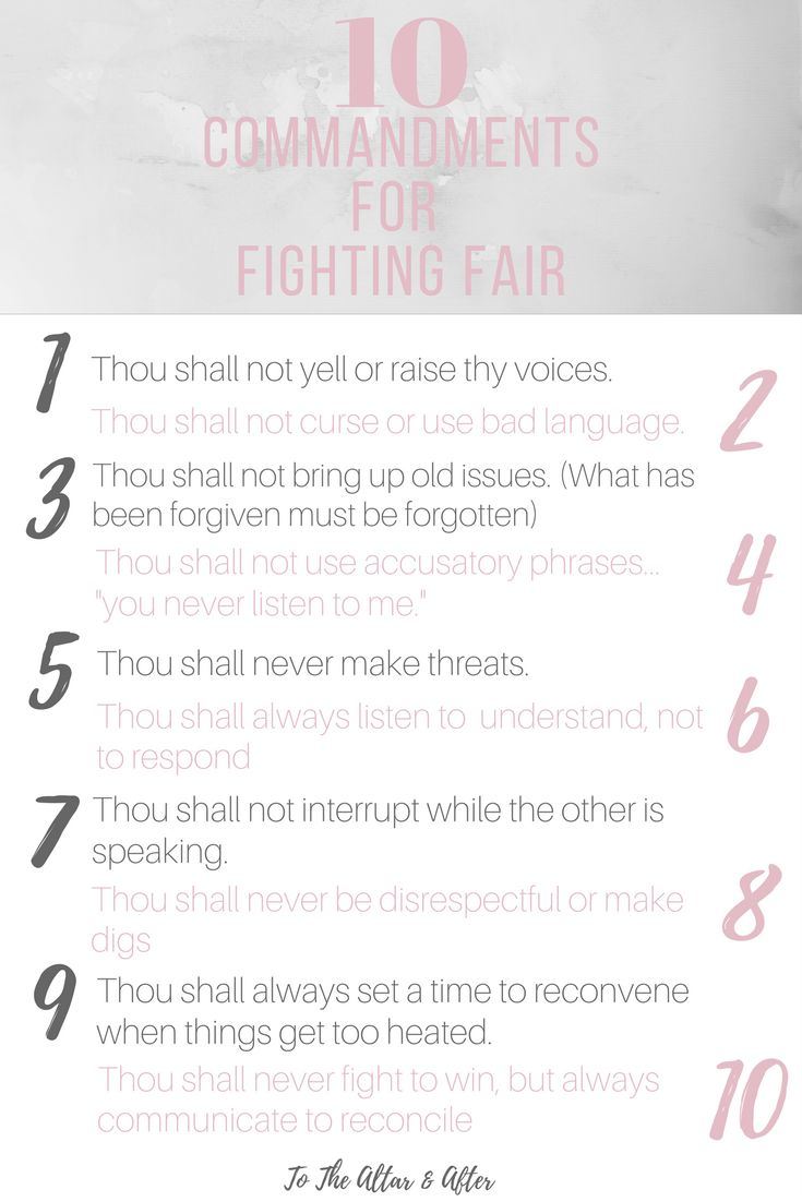 10 Commandments for Fighting Fair in Your Marriage
