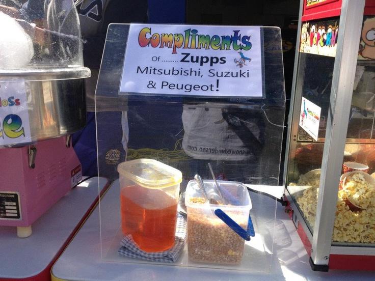 Snow cones, fairy floss and popcorn compliments of Zupps Mt Gravatt.