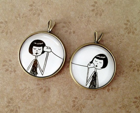 #mintedandmine #personalized #contests BFF Best Friend friendship pendant set by flapperdoodle on Etsy, $15.00
