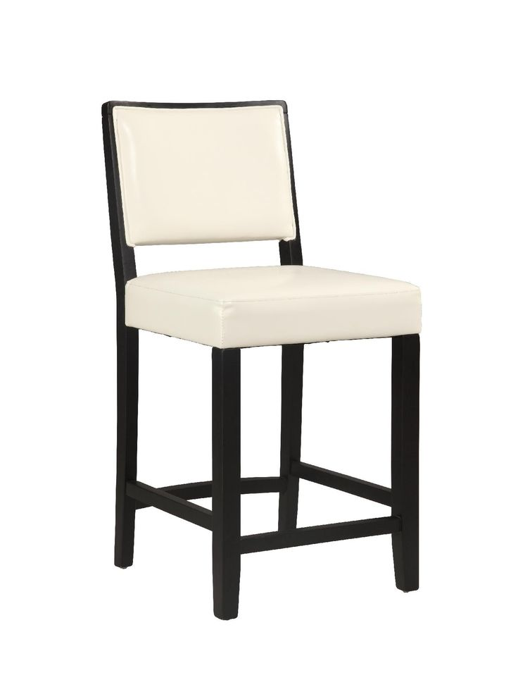 """The Zoe Counter Stool exudes sleek modern style and appeal. The black finished, straight lined legs keep the stool sophisticated, while the wipe clean White PU upholstery adds fun flair to the piece. Sturdy and durable, the Zoe Stool is the perfect choice for a high top table, kitchen counter or home bar. 24"""" Seat Height. 275 pound weight limit.Weight Limit: 275 lbsSleek Modern DesignSturdy and DurableWhite PU UpholsteryBlack FinishSeat Dimensions: 24"""" seat height, 18.25""""w x 17""""d x 3.25"""" .."""