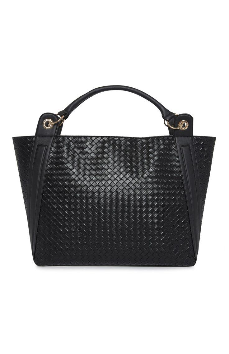 Primark - Zwarte tas met vlechtmotief