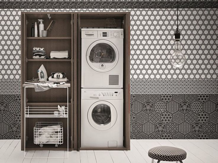 Mobile lavanderia a colonna in olmo per lavatrice ACQUA E SAPONE Collezione Acqua e Sapone by Birex | design Monica Graffeo