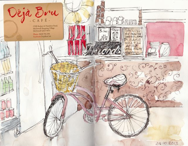 A Favourite local café Deja Bru - the owner had her bike there for me to draw. Ink and watercolour in a Stillman & Birn Alpha Sketchbook.