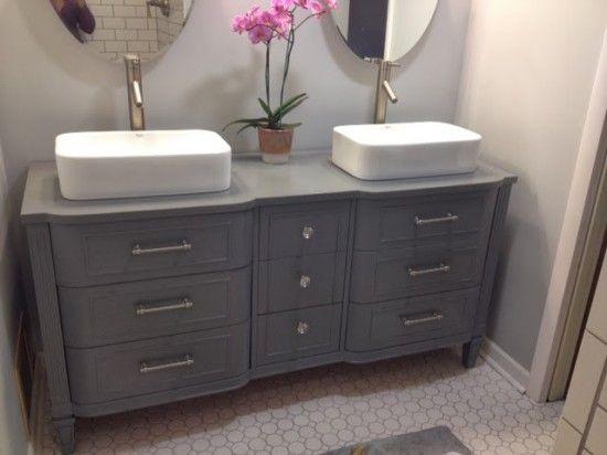 chic gray dresser turned double vanity diy through the front door