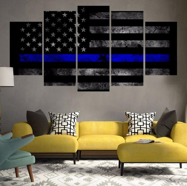 Thin Blue Line 5 Piece Canvas Set