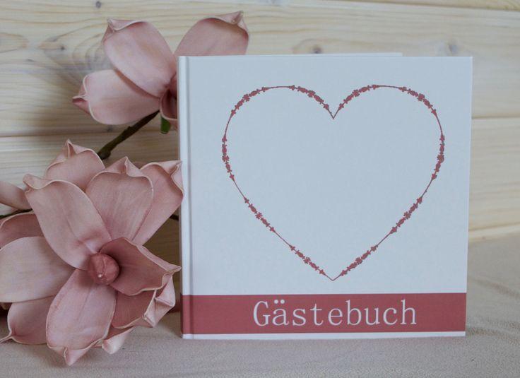 Hochzeitsgästebuch - Gästebuch vintage Herz in altrosa mit 96 Seiten - ein Designerstück von Lolima-Shop bei DaWanda