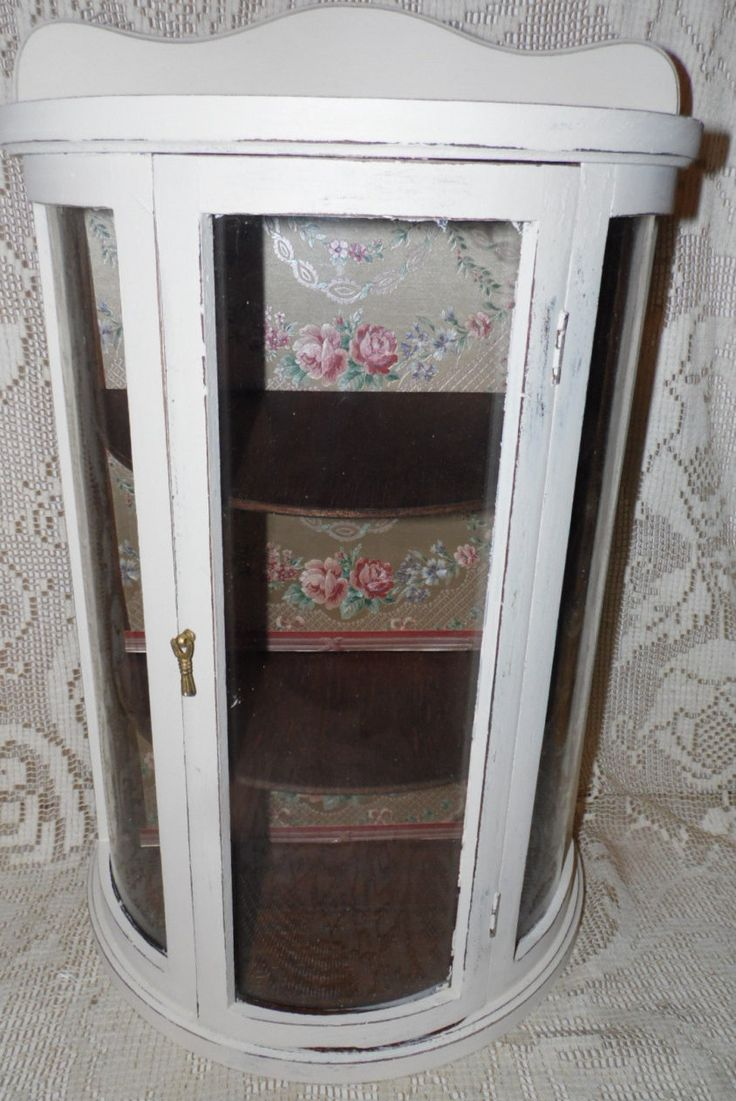 Vintage Wood Small Curio Cabinet Distressed White Shabby Chic Roses Floral  Background Curved Glass