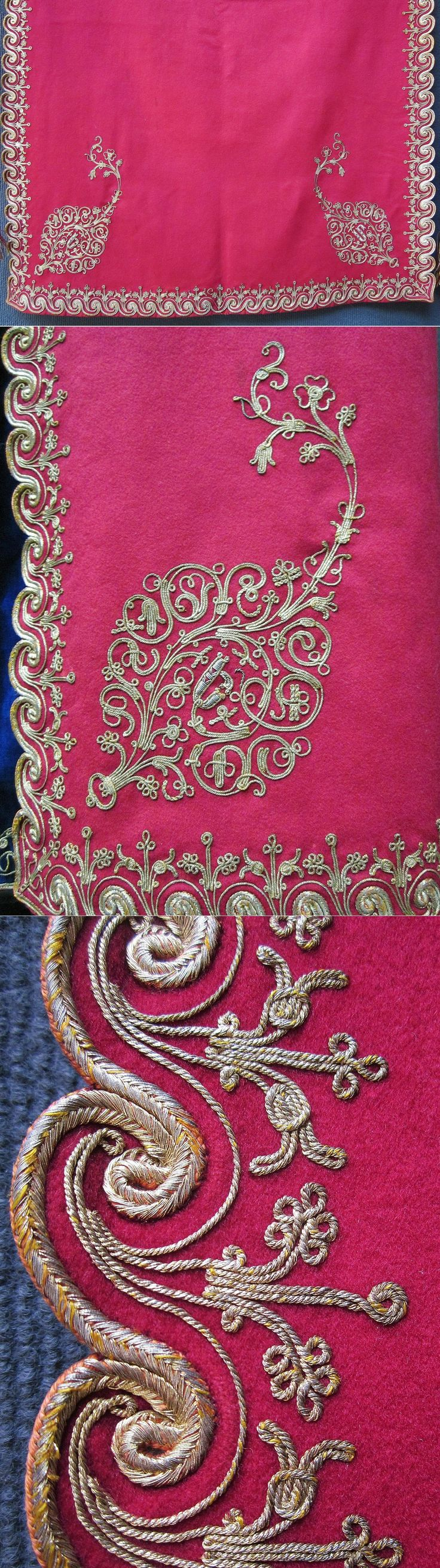Close-ups of a traditional embroidered apron from the Olti/Oltu region (North of Erzurum province). Part of an Armenian (well-to-do) festive costume, early 20th century. Metal thread embroidery on combed wool. (Inv.nr. önL078 - Kavak Costume Collection - Antwerpen/Belgium).