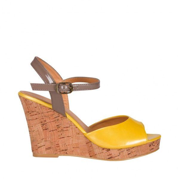 Wedge-cork patent colour blok sandal