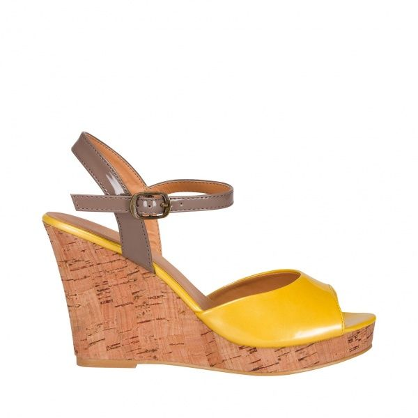 Wedge-cork patent colour blok sandal