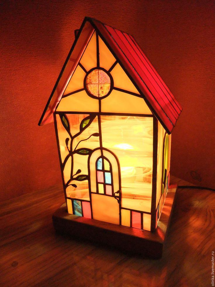 """Купить Витражный светильник """"Домик"""" - комбинированный, свет, светильник витражный, ночник, Витраж Тиффани"""