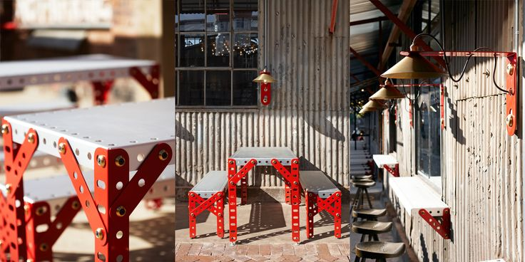 Mad Giant Craft Beer restaurant and brewery in Johannesburg. Interior and Furniture design by Haldane Martin. Photography by Micky Hoyle.  All the furniture in the brewery is bespoke and includes a range of original pieces by Haldane Martin made from custom-made scaled up Meccano, like giant toys turned into furnishings, to bring the brand vision to life.