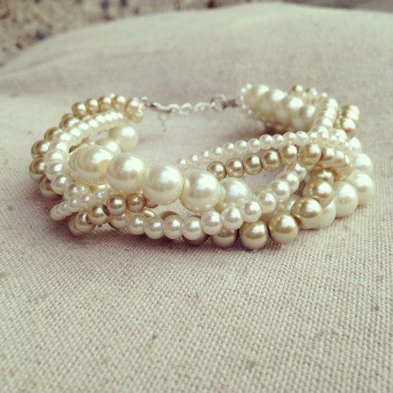 Braided cuff ivory pearl bracelet bridesmaids by Emmiemaeboutique