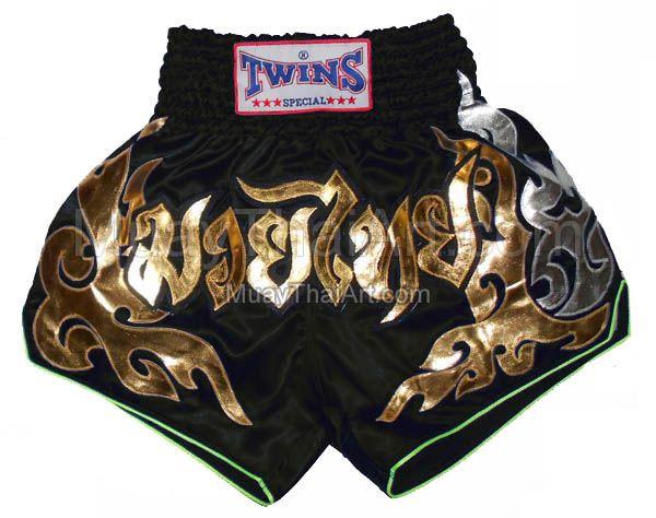 Twins Black Gold Flame Muay Thai Boxing shorts : TWS-840