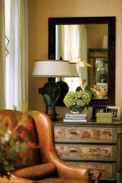 A mirror is used in part of this vignette to draw the eye back toward the main seating area |  Andrea's Blog - Top 5 Tips for Styling Vignettes
