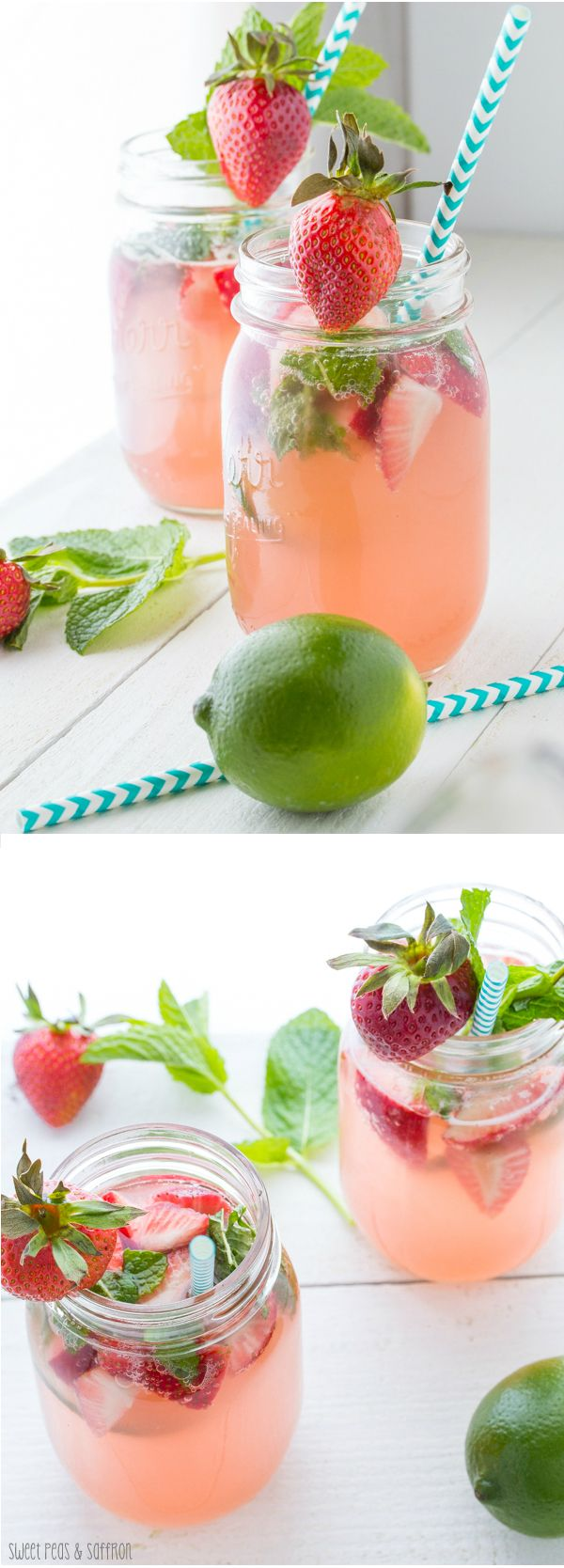 Strawberry Rhubarb Rosé Sangria | sweetpeasandsaffron.com