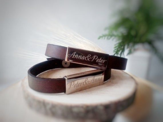 His And Her Name Bracelet Gift Set Custom Handwriting Couple