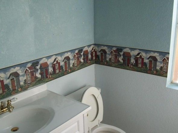 Here's a unique wallpaper idea for your bathroom:  This border hung at chair rail has a delightful assortment of rather artsy outhouses.  It should make you thankful for indoor plumbing as you get nostalgic!  We hang wallpaper and borders in #Bellingham WA.  http://www.northpinepainting.com