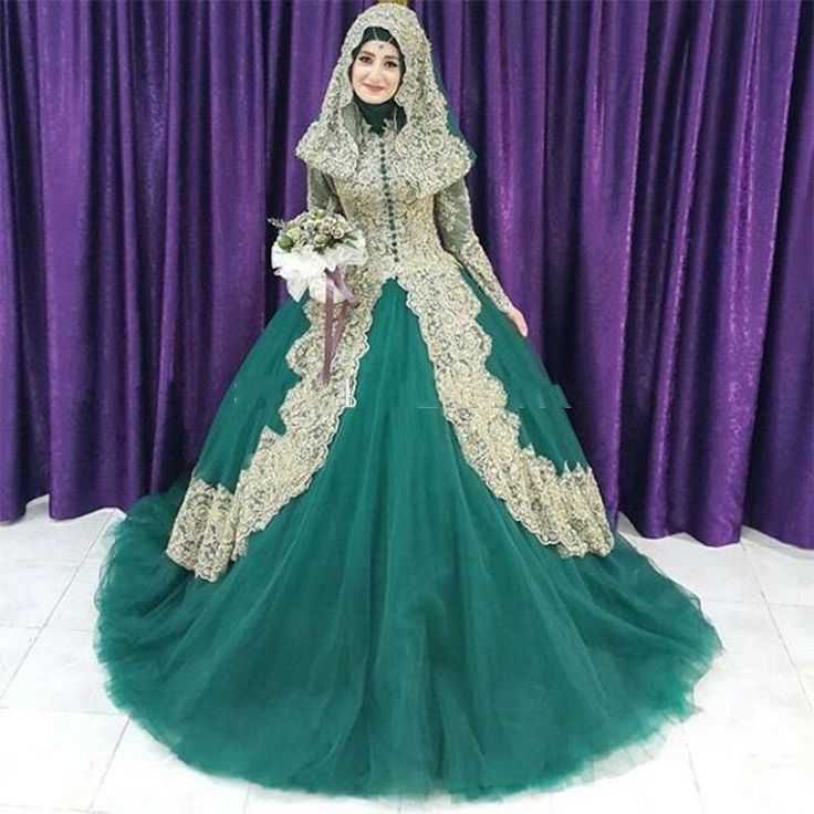 pas cher robe de noiva 2017 femmes musulmanes robe de marie or applique hijab islamique turc - Ruban Rouge Mariage Turc
